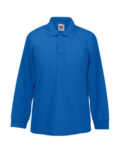 Fruit Of The Loom Unisex Childrens 65//35 Long Sleeve Polo shirt tops school
