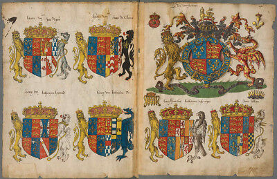 1550 Facsimile Antiquarian & Collectible Manuscripts English Coats Of Arms Directory
