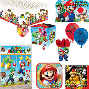 Super Mario Birthday Party Decorations Tableware Invitations Posters