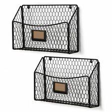 Wall35 Cestino Magazine And File Organizer Wire Basket Set Of 2 Black