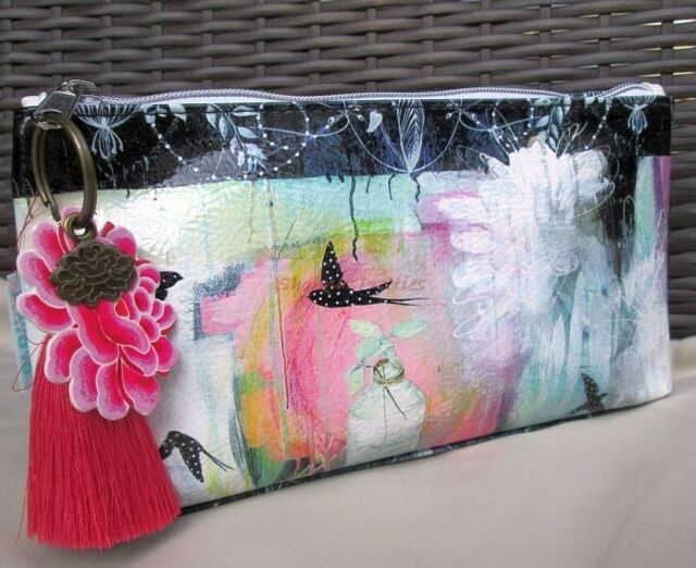 Pretty Swallows Makeup Cosmetic Bag Papaya Art Tassel Vegan Clutch Purse Bird