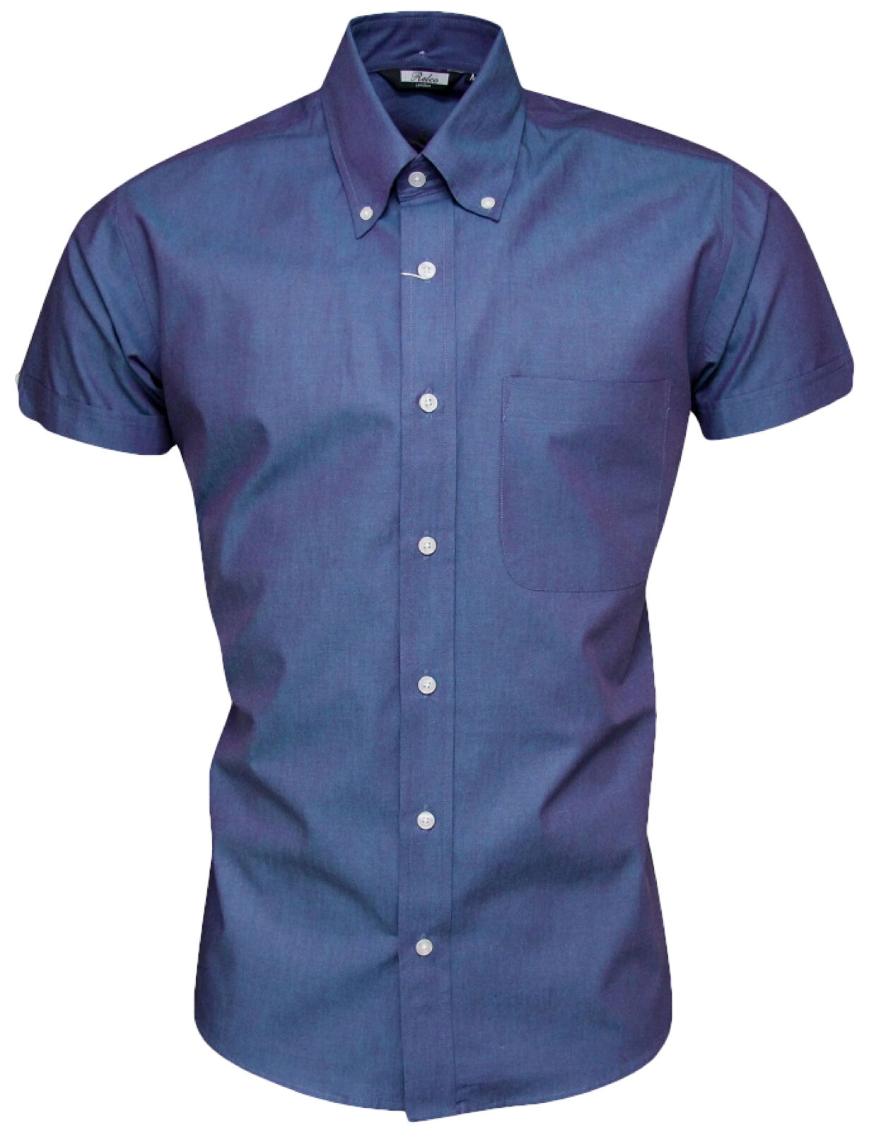 Relco Mens Two Tone Tonic bluee Short Sleeve Shirt Button Down Collar Retro Mod