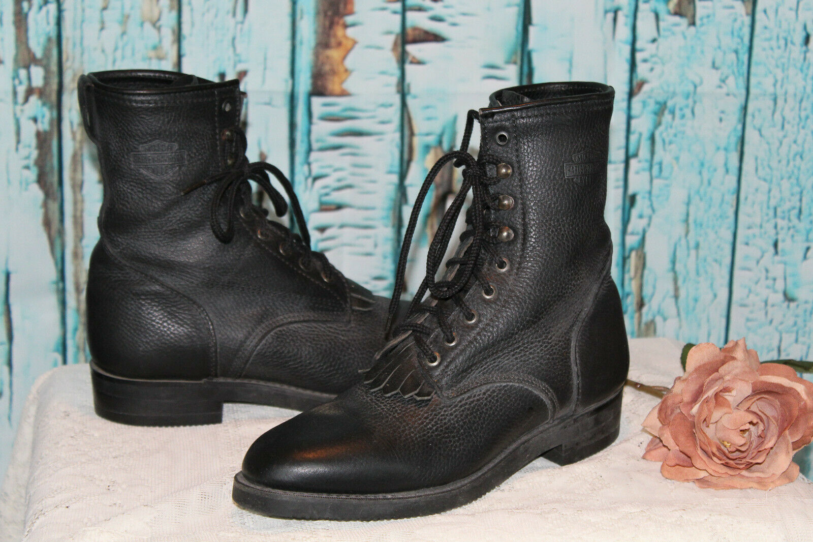NICE  Harley-Davidson WOMENS WOMENS WOMENS  BLACK Leather LACE UP Motorcycle Boots 11M f9e3d3