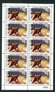 NATIONAL-WILD-TURKEY-FEDERATION-STAMP-1983-FULL-SHEET-OF-10-Reg-35-single