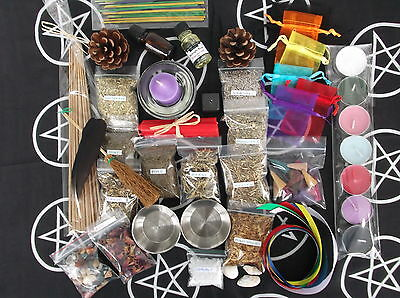 SPELL STARTER KIT witch/wicca/pagan/occult/goth/herbs/altar cloth/incense