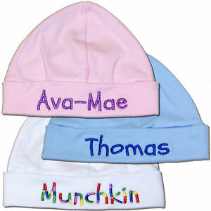 ade02d9ea6c Image is loading New-Baby-Hat-Personalised-Baby-Boy-or-Girl-
