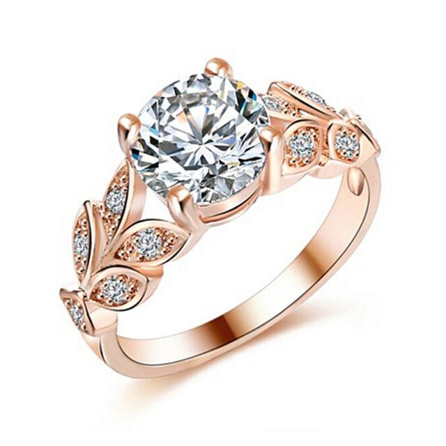 Beautiful Wedding Crystal Zircon Leaf Ring Women Girl  Elegant Romantic RingE9C