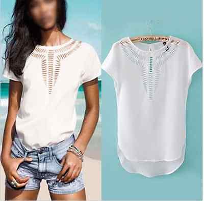 New Women Casual Chiffon Blouse Short Sleeve Hollow T-shirt Summer Blouse Tops