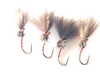 Trout Flies by Iain Barr Fly Fishing 4 RED Rutland CDC OWL Culs dry flies SZ14