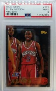 1996-97-Topps-NBA-at-50-Allen-Iverson-Rookie-RC-171-PSA-9-Low-Pop-48-Only-14