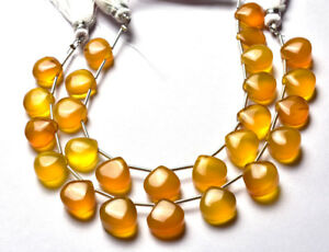 Multi Color Yellow Brown Chalcedony Smooth Heart Beads
