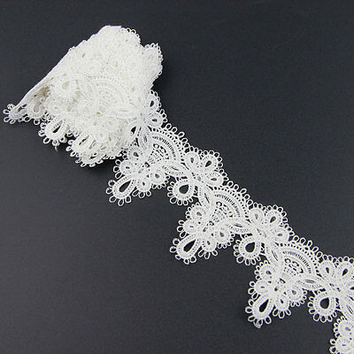 2 Yards Off White Polyester Handicrafts Embroidered Net Lace Trim Ribbon Sewing