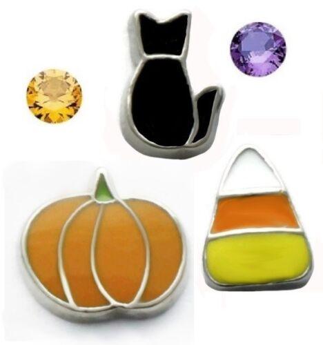 Halloween Floating Charms Orange Pumpkin Black Cat Candy Corn Purple Orange Gems