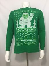 Ugly Christmas Abominable Snowman Green Thermal Shirt Men Size L Large 42-44
