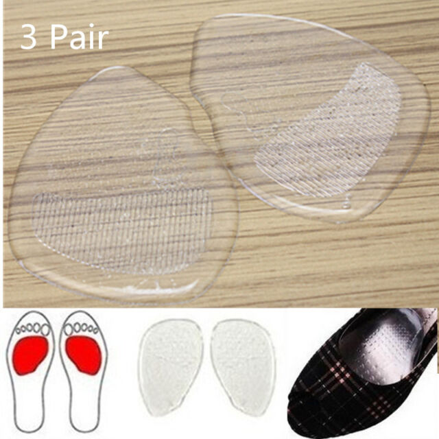 3 Pair Silicone High Heel Gel Cushion Insoles Feet Shoe Front Pad Foot Care