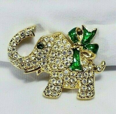 Vintage MONET Elephant Brooch Pin Clear Rhinestones signed Gold Tone