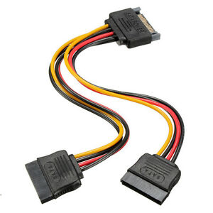 1-New-15-Pin-Sata-Male-to-2-Sata-Female-Power-Splitter-Y-Cable-Durable-Useful