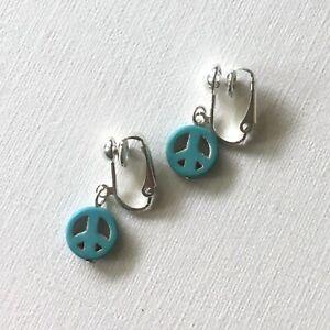 Peace-Symbol-Clip-On-Earrings