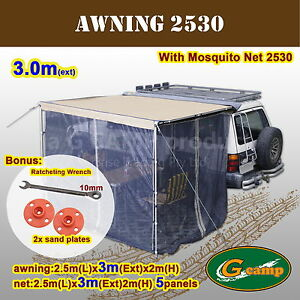 G-CAMP-2-5M-x-3M-AWNING-ROOF-TOP-TENT-CAMPER-TRAILER-4WD-4X4-CAMPING-CAR-NET