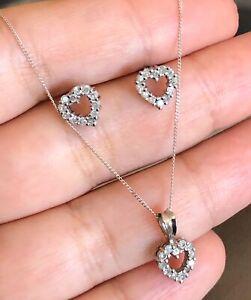 9ct-White-Gold-Diamond-Necklace-amp-Earrings-Set-0-50ct-Heart-Pendant