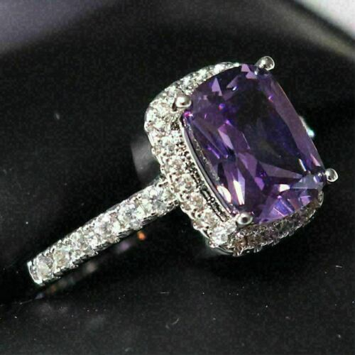 Details about  /Gorgeous Purple Amethyst Ring Women Jewelry Wedding Engagement Anniversary Gift