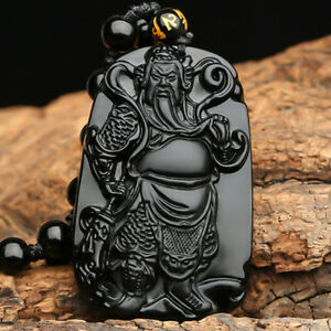 100-Natural-Obsidian-Hand-carved-Guan-gong-Lucky-Amulet-Pendant-Free-Necklace