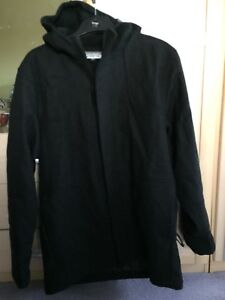 Ladies-Black-charcoal-Winter-Coat-size-L-fully-lined-pockets-with-hood
