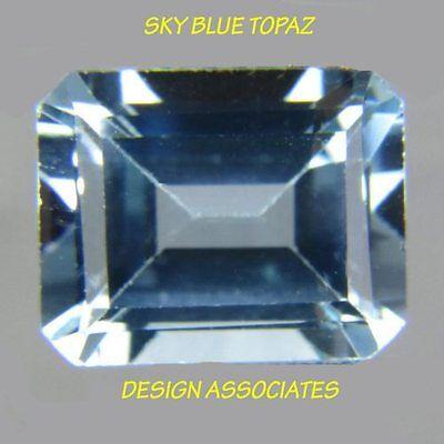 SKY BLUE TOPAZ 11X9  MM EMERALD CUT CENTER DRILLED   ALL NATURAL  AAA