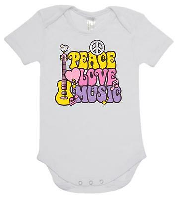 BABY ONE PIECE, ROMPER. ONESIE. printed with PEACE LOVE MUSIC on baby onesie