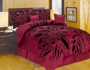 Queen-King-and-or-Curtain-Modern-Style-Burgundy-Black-Comforter-Set