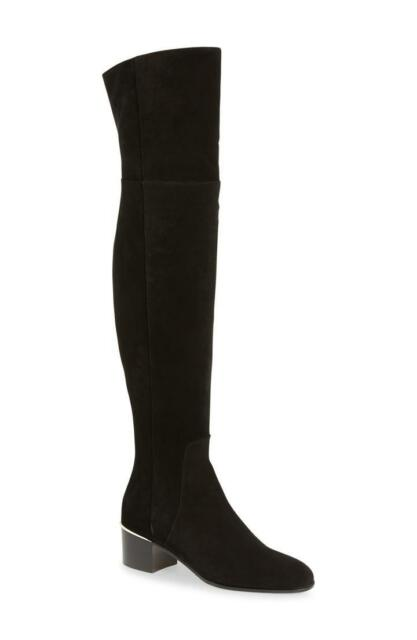 Jimmy Choo Harmony Black Suede Over-The-Knee Boots Booties 38- 7.5