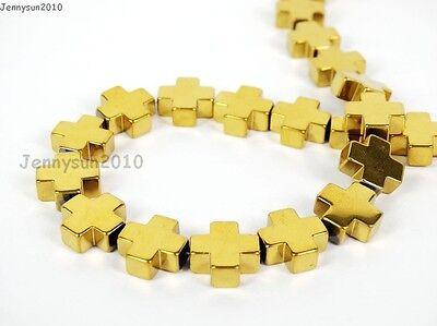 Natural Hematite Gemstone Square Cross Beads 16'' Metallic 6mm 8mm 10mm 12mm