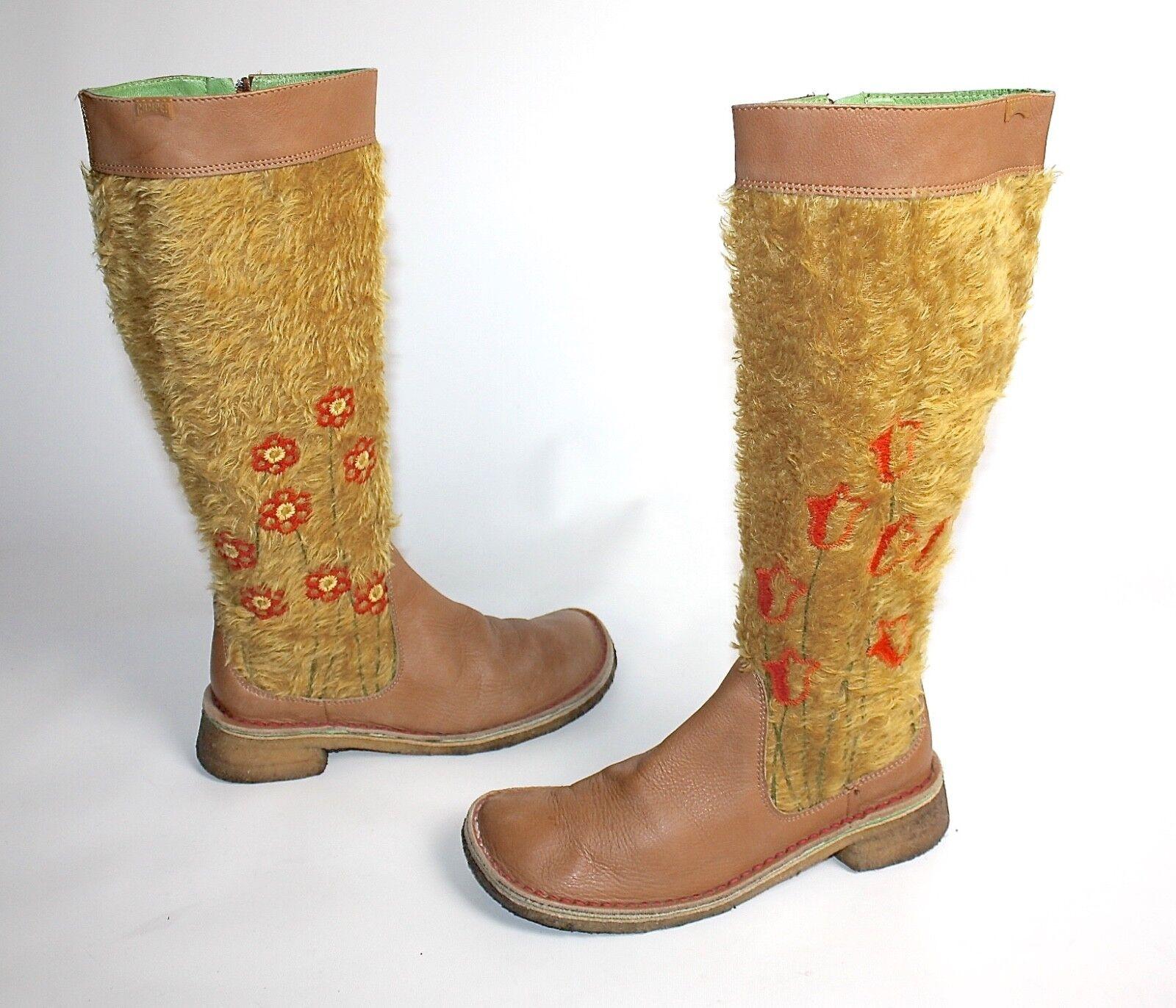 Zapatos especiales con descuento CAMPER TWINS ! HÜBSCHE DAMENSTIEFEL BRAUN KUNSTFELL BLUMEN 37 #18803030CX37#