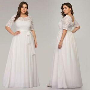Details about Ever-Pretty US Plus Size White Wedding Gowns Formal Lace  Summer Party Dresses