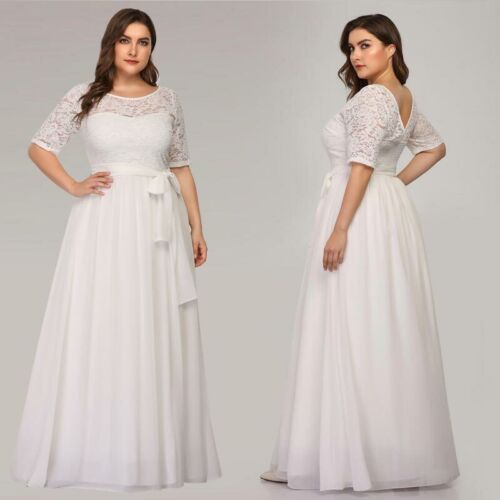 US Ever-Pretty Plus Size Lace Long Bridesmaid Gowns Cocktail Party Evening Dress