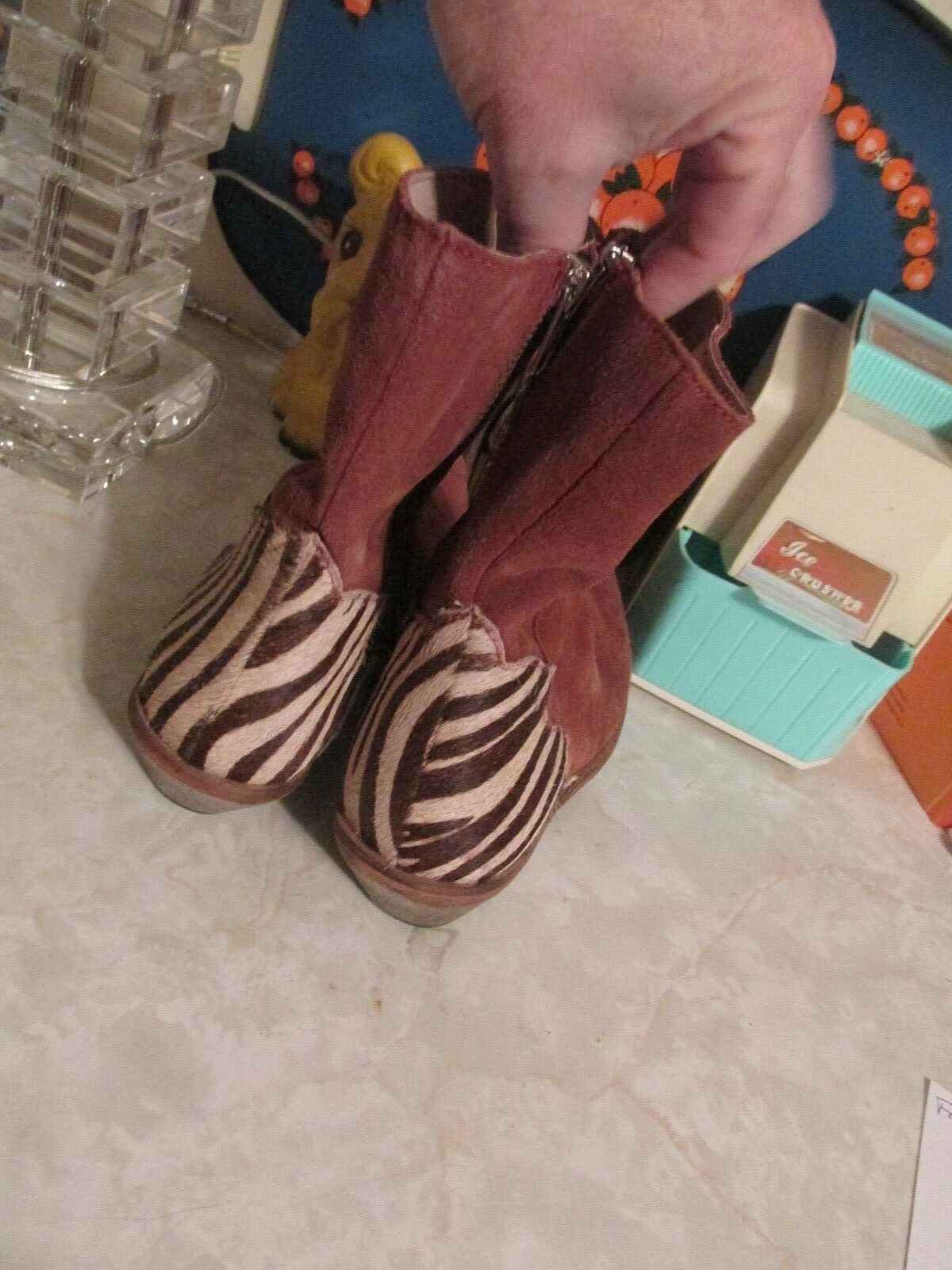 Free People Rust Suede Zebra Calf Hair Heel Last Outlaw Outlaw Outlaw Ankle Boots Size 37 7 0e2611