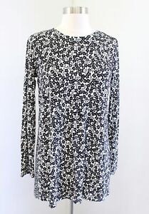 NWT $89 J Jill Wearever Collection Black White Mixed Floral Tunic Top Blouse XS