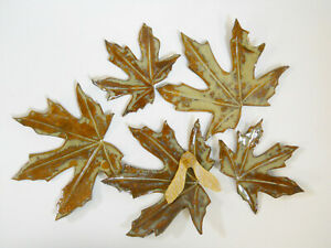 Decorative-MAPLE-LEAVES-Handmade-Ceramic-Tile-Autumn-Table-Top-Decor-Set-of-5