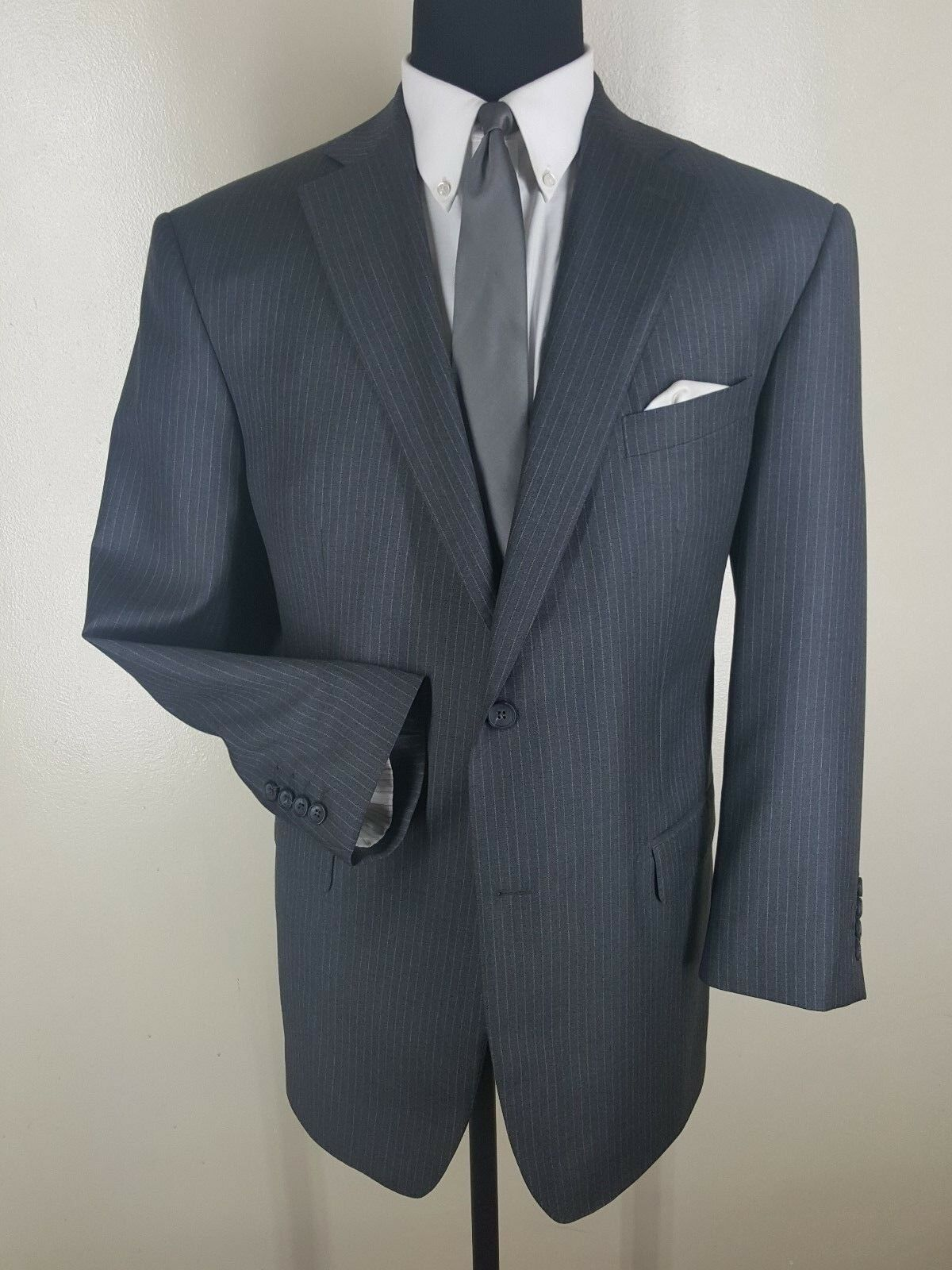 THOMAS MITCHELL Clothiers Recent Bespoke 100% Wool Suit 2 Btn 1 Vent Fit 44-46 R