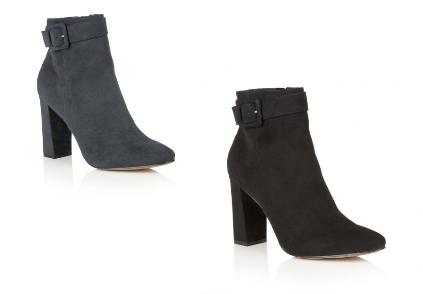 Ladies Ravel Armstrong Office Casual Faux Suede Block Heel Buckle Ankle Boots