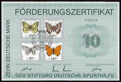 Schmetterlinge Za68 SorgfäLtige Berechnung Und Strikte Budgetierung Sporthilfe Zertifikat 1991 Certificate German Olympic C Briefmarken