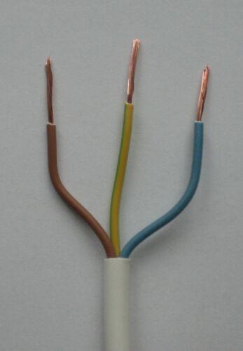 0,88 €//m 10 M 3 x 1 mm flexible de plástico cables Weiss h05vv-f3g1ws