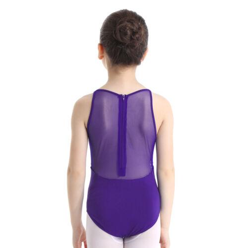 Girl Mesh Ballet Dress Leotard Gymnastics Zipper Back Dancewear Bodysuit Costume