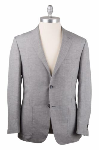 Corneliani Linen Blend 42US52EU Two Button Suit Dark Blue & White Houndstooth