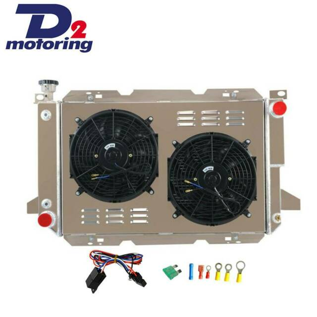 4ROW Radiator&Shroud+Fan&Thermostat For 83-97 Ford F100 F150 F250 F350 Bronco V8