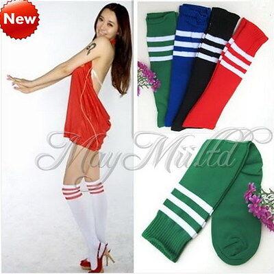 1 Pair Stripe On Sport Athletic Long Knee High Tube Socks Soccer Football I