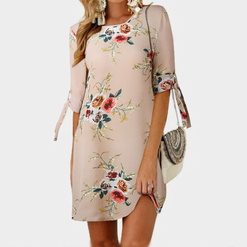 Damen Sommerkleid Blumen Druck Freizeit Kleider Strandkleider Minikleid Rundhals