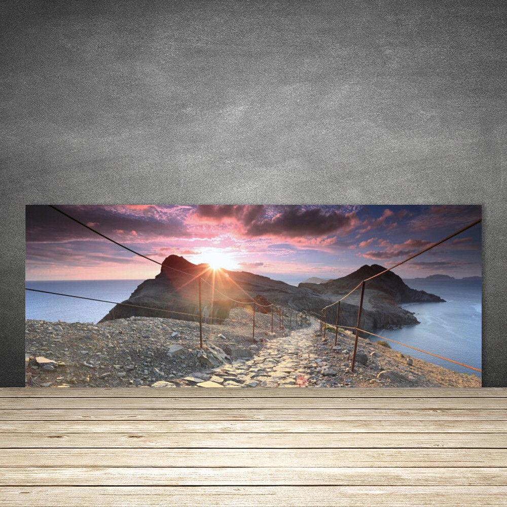 Crédence de cuisine en verre Panneau 125x50 Paysage Soleil Sentier