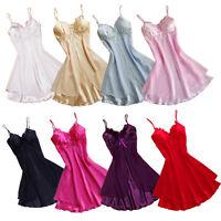 Women Sexy Silk Lace Robe Babydoll Sleepwear Lingerie Nightdress Pajamas