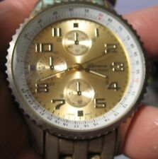Geneva Cronograph Water Resist Gold Face Men's Watch Needs a Battery